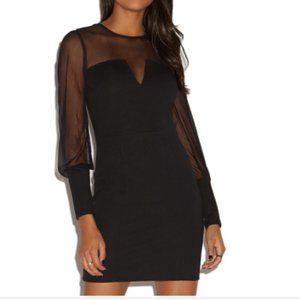 Shoedazzle Black Mesh Long Sleeve Bodycon Dress